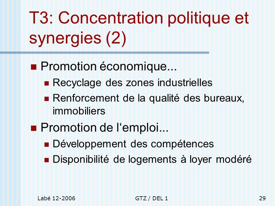 Labé 12-2006GTZ / DEL 129 T3: Concentration politique et synergies (2) Promotion économique... Recyclage des zones industrielles Renforcement de la qu