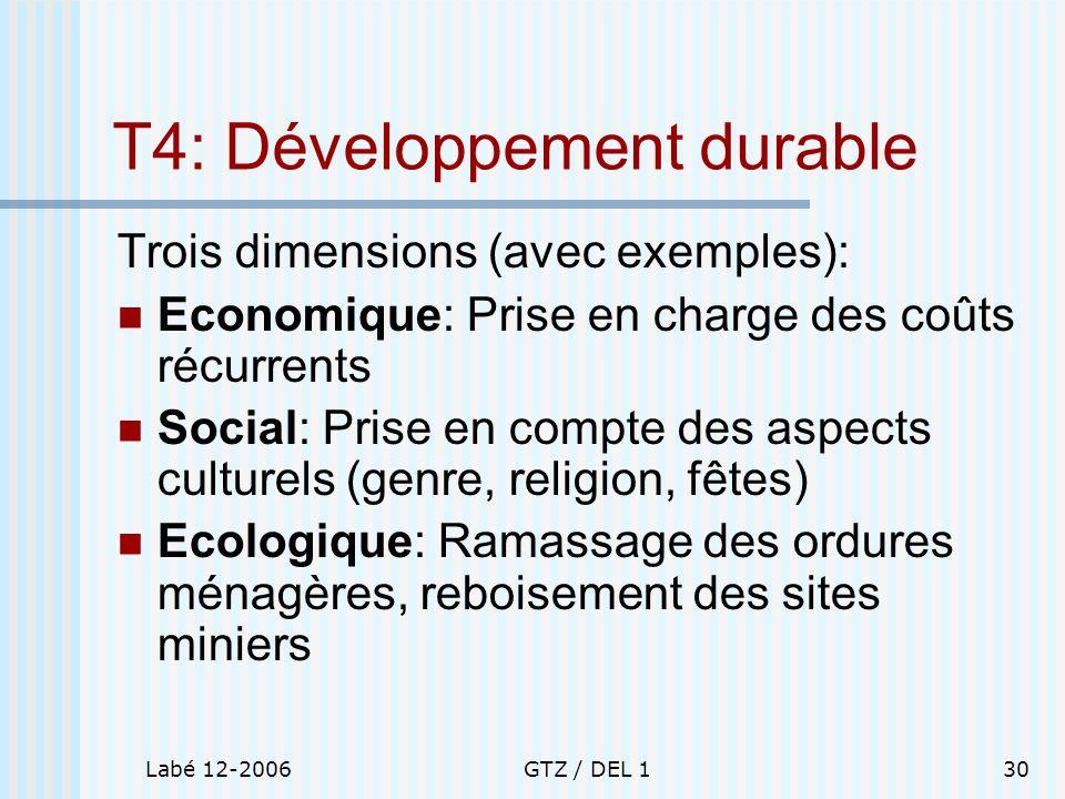 Labé 12-2006GTZ / DEL 130 T4: Développement durable Trois dimensions (avec exemples): Economique: Prise en charge des coûts récurrents Social: Prise e