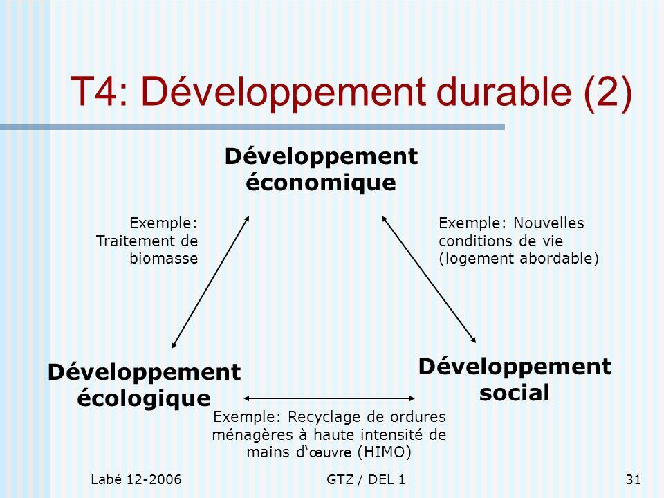 Labé 12-2006GTZ / DEL 131 T4: Développement durable (2) Développement économique Développement écologique Développement social Exemple: Traitement de