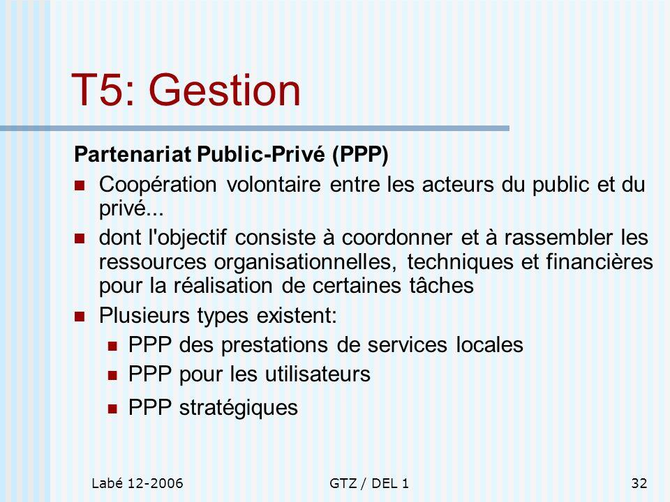 Labé 12-2006GTZ / DEL 132 T5: Gestion Partenariat Public-Privé (PPP) Coopération volontaire entre les acteurs du public et du privé... dont l'objectif