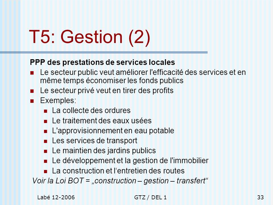 Labé 12-2006GTZ / DEL 133 T5: Gestion (2) PPP des prestations de services locales Le secteur public veut améliorer l'efficacité des services et en mêm