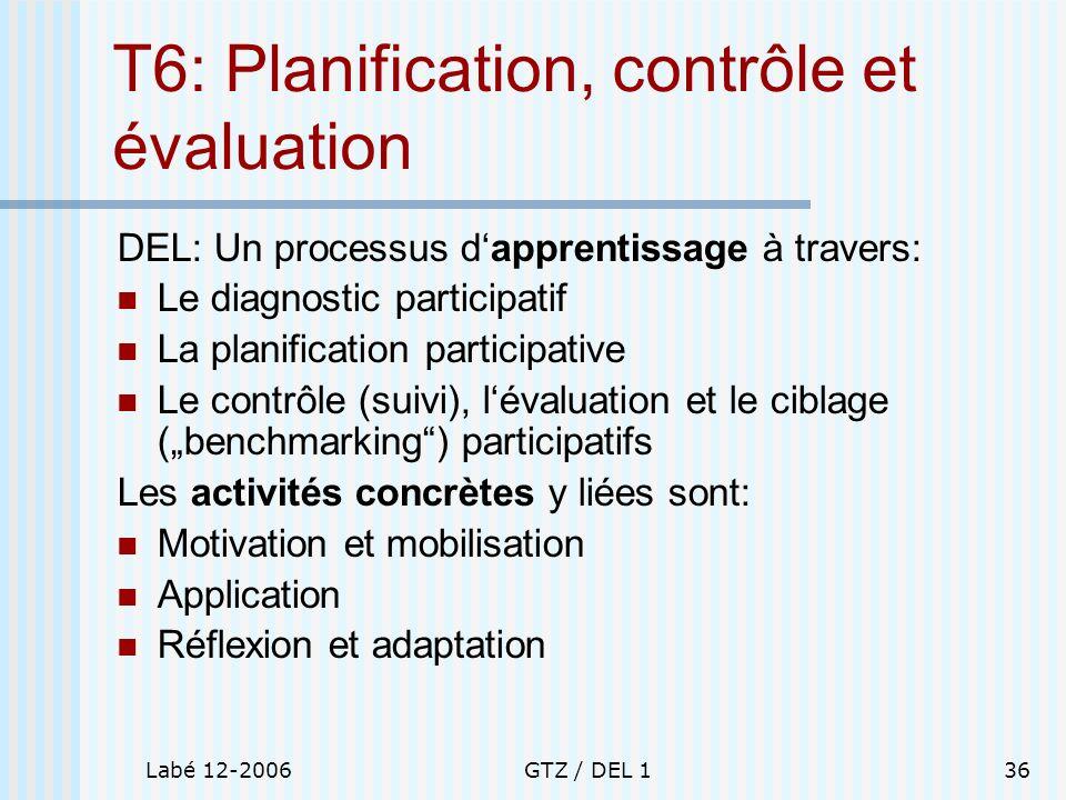 Labé 12-2006GTZ / DEL 136 T6: Planification, contrôle et évaluation DEL: Un processus dapprentissage à travers: Le diagnostic participatif La planific