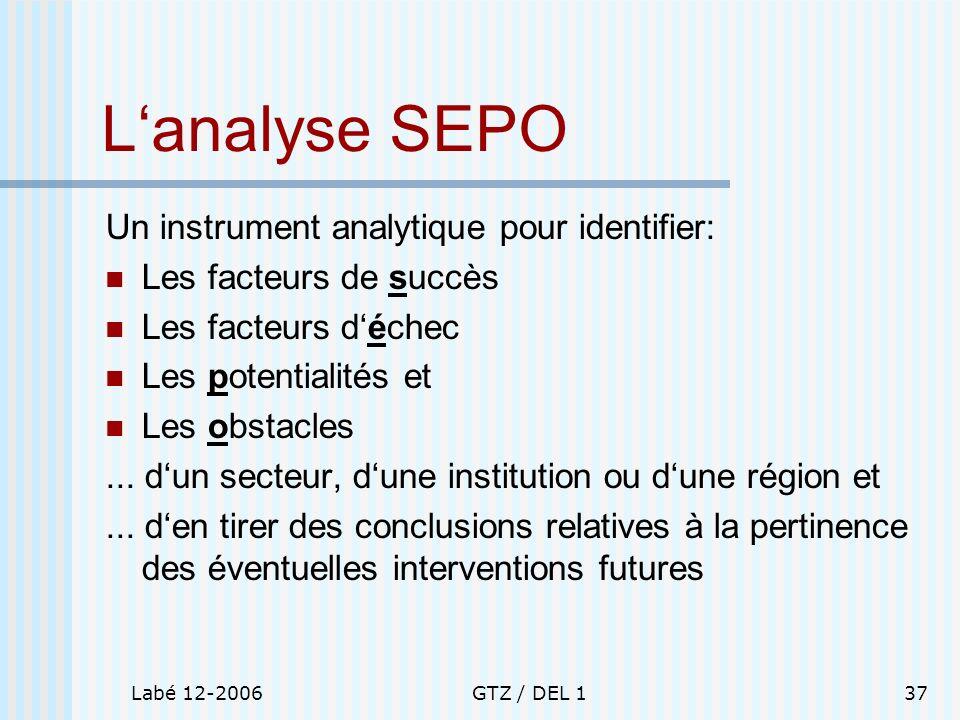 Labé 12-2006GTZ / DEL 137 Lanalyse SEPO Un instrument analytique pour identifier: Les facteurs de succès Les facteurs déchec Les potentialités et Les