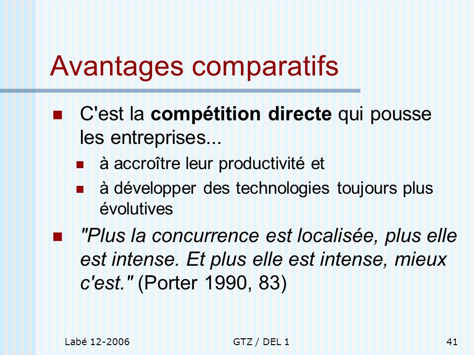 Labé 12-2006GTZ / DEL 141 Avantages comparatifs C'est la compétition directe qui pousse les entreprises... à accroître leur productivité et à développ