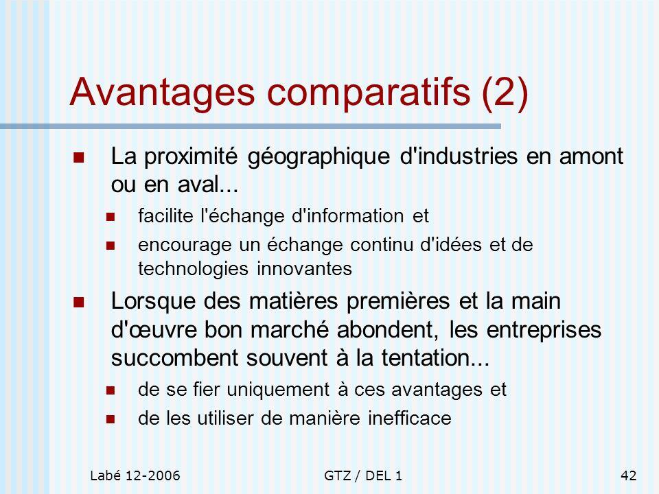 Labé 12-2006GTZ / DEL 142 Avantages comparatifs (2) La proximité géographique d'industries en amont ou en aval... facilite l'échange d'information et