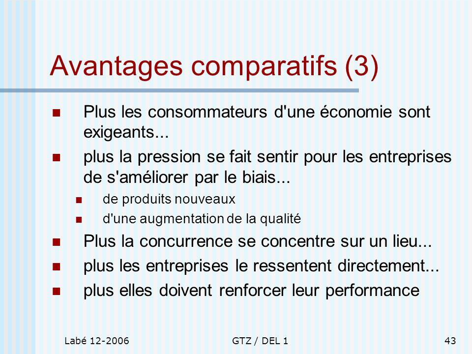 Labé 12-2006GTZ / DEL 143 Avantages comparatifs (3) Plus les consommateurs d'une économie sont exigeants... plus la pression se fait sentir pour les e