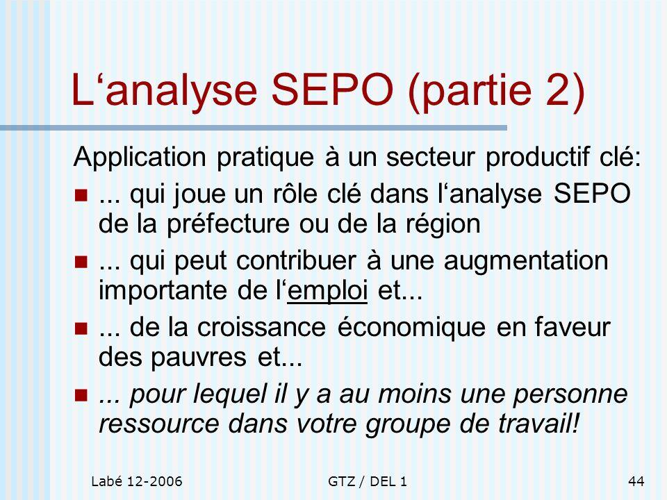 Labé 12-2006GTZ / DEL 144 Lanalyse SEPO (partie 2) Application pratique à un secteur productif clé:... qui joue un rôle clé dans lanalyse SEPO de la p