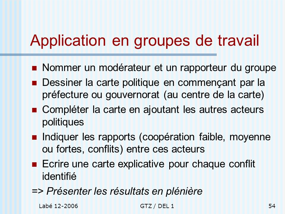 Labé 12-2006GTZ / DEL 154 Application en groupes de travail Nommer un modérateur et un rapporteur du groupe Dessiner la carte politique en commençant