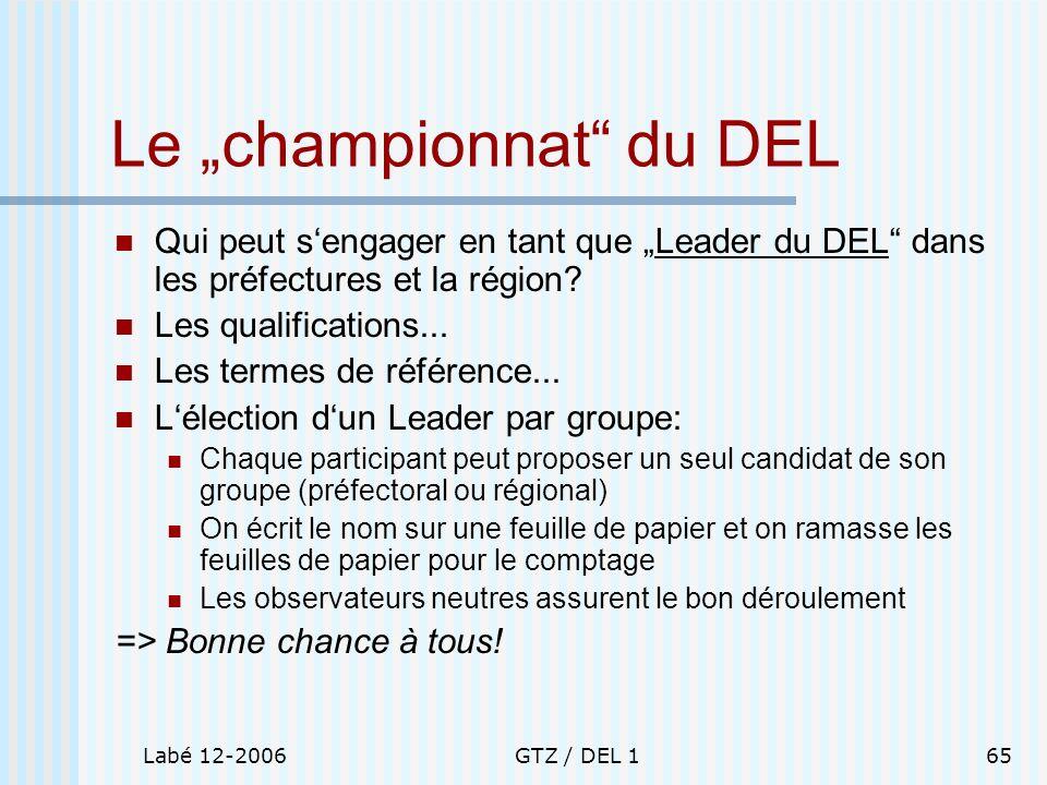 Labé 12-2006GTZ / DEL 165 Le championnat du DEL Qui peut sengager en tant que Leader du DEL dans les préfectures et la région? Les qualifications... L