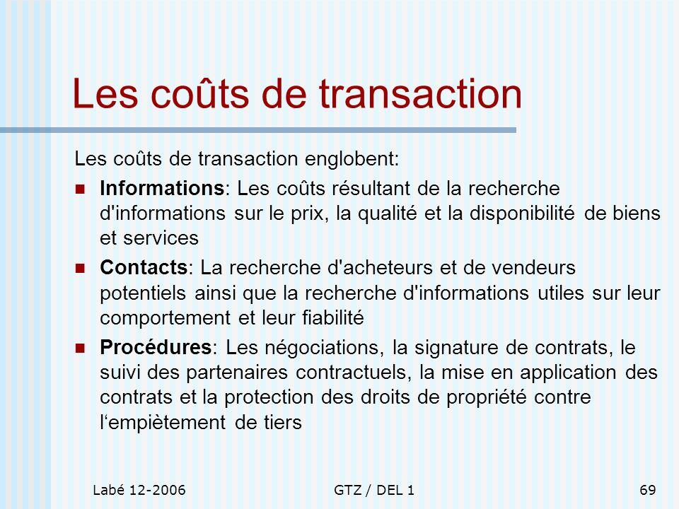 Labé 12-2006GTZ / DEL 169 Les coûts de transaction Les coûts de transaction englobent: Informations: Les coûts résultant de la recherche d'information