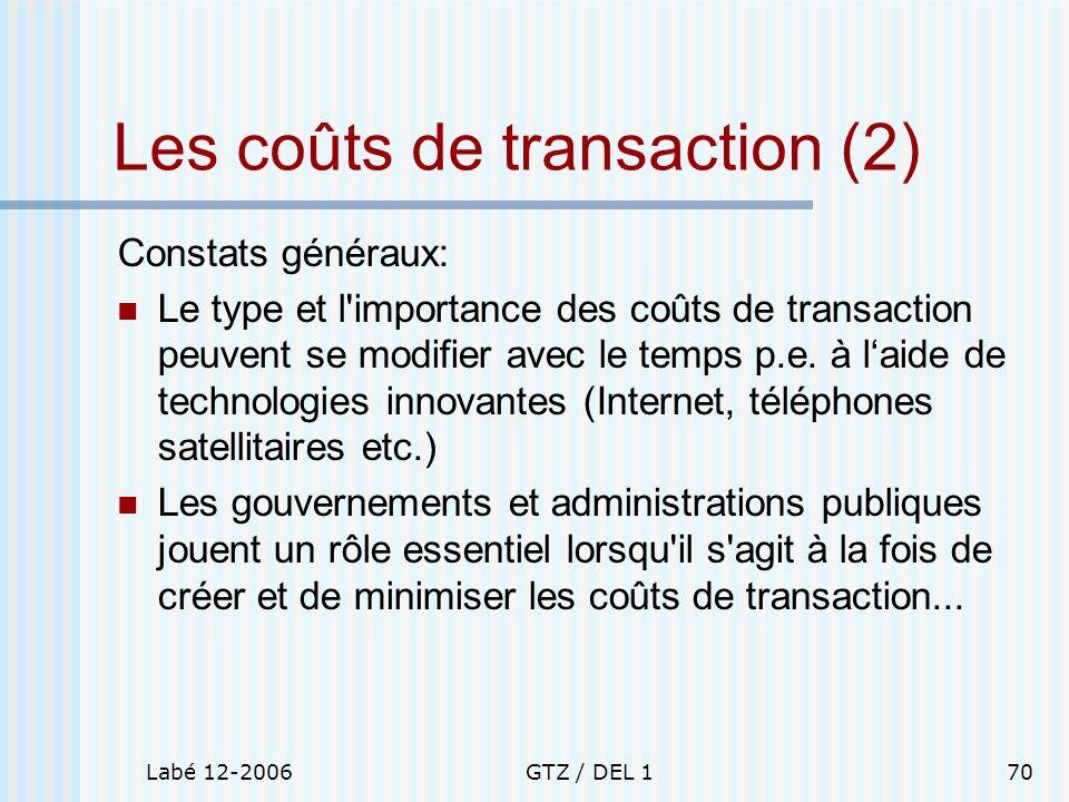 Labé 12-2006GTZ / DEL 170 Les coûts de transaction (2) Constats généraux: Le type et l'importance des coûts de transaction peuvent se modifier avec le