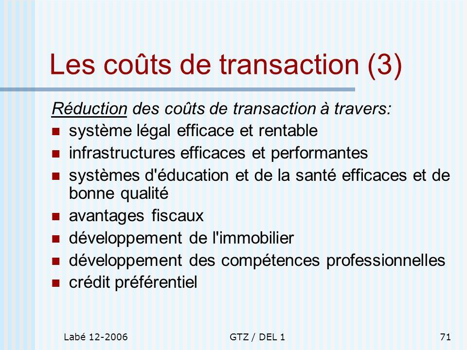 Labé 12-2006GTZ / DEL 171 Les coûts de transaction (3) Réduction des coûts de transaction à travers: système légal efficace et rentable infrastructure