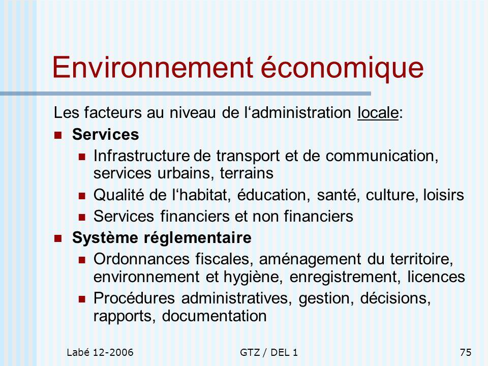 Labé 12-2006GTZ / DEL 175 Environnement économique Les facteurs au niveau de ladministration locale: Services Infrastructure de transport et de commun