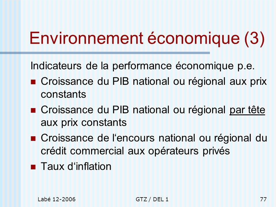 Labé 12-2006GTZ / DEL 177 Environnement économique (3) Indicateurs de la performance économique p.e. Croissance du PIB national ou régional aux prix c