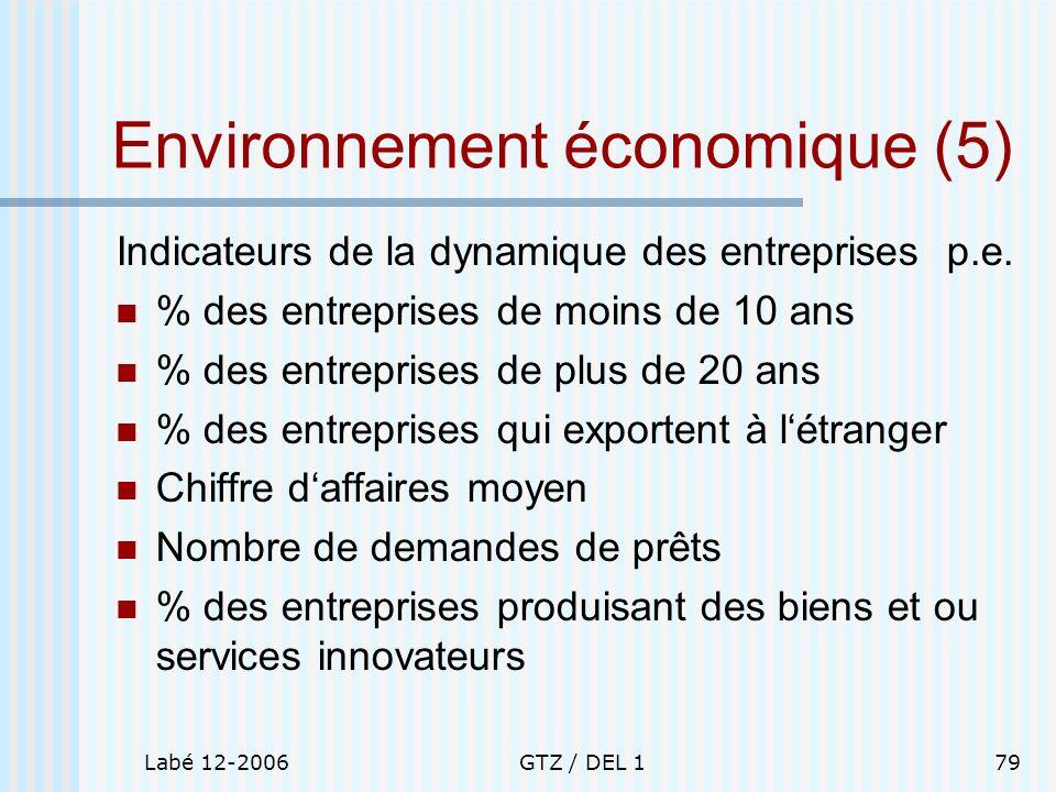 Labé 12-2006GTZ / DEL 179 Environnement économique (5) Indicateurs de la dynamique des entreprises p.e. % des entreprises de moins de 10 ans % des ent