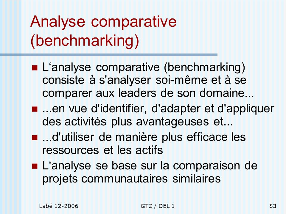 Labé 12-2006GTZ / DEL 183 Analyse comparative (benchmarking) Lanalyse comparative (benchmarking) consiste à s'analyser soi-même et à se comparer aux l