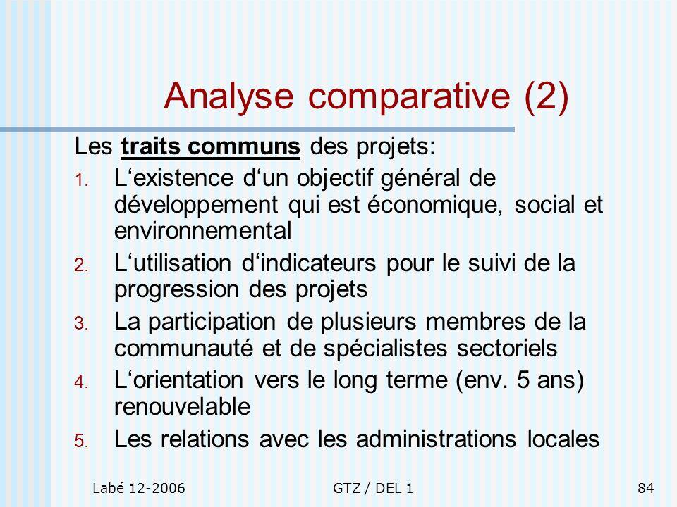Labé 12-2006GTZ / DEL 184 Analyse comparative (2) Les traits communs des projets: 1. Lexistence dun objectif général de développement qui est économiq
