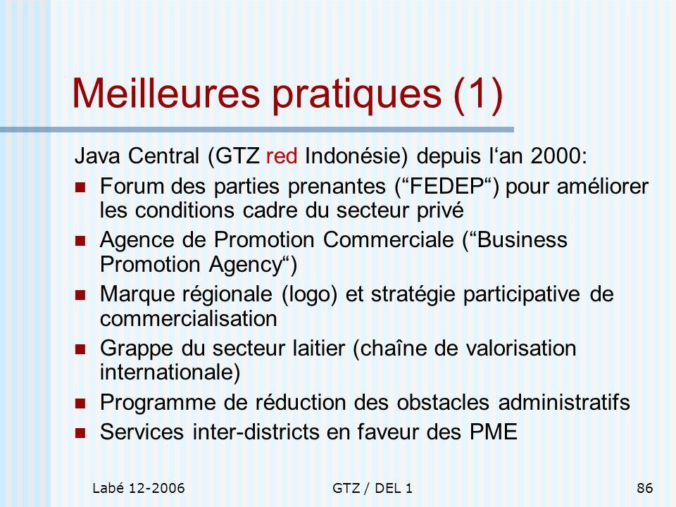 Labé 12-2006GTZ / DEL 186 Meilleures pratiques (1) Java Central (GTZ red Indonésie) depuis lan 2000: Forum des parties prenantes (FEDEP) pour améliore