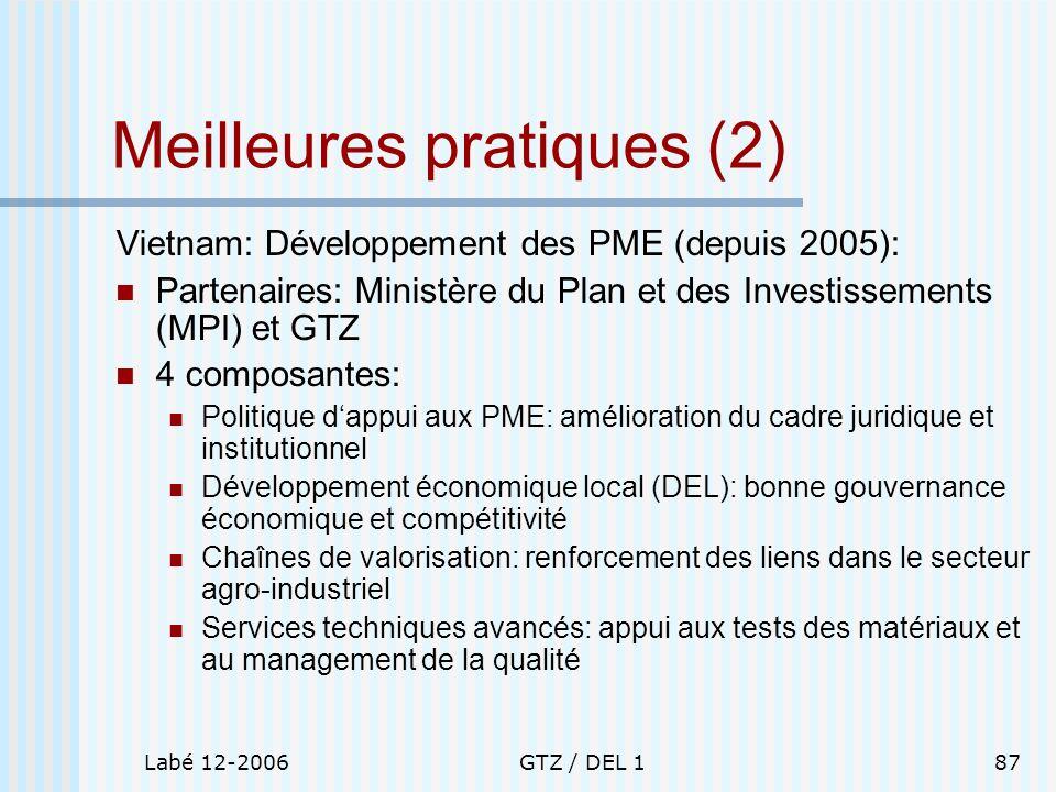 Labé 12-2006GTZ / DEL 187 Meilleures pratiques (2) Vietnam: Développement des PME (depuis 2005): Partenaires: Ministère du Plan et des Investissements