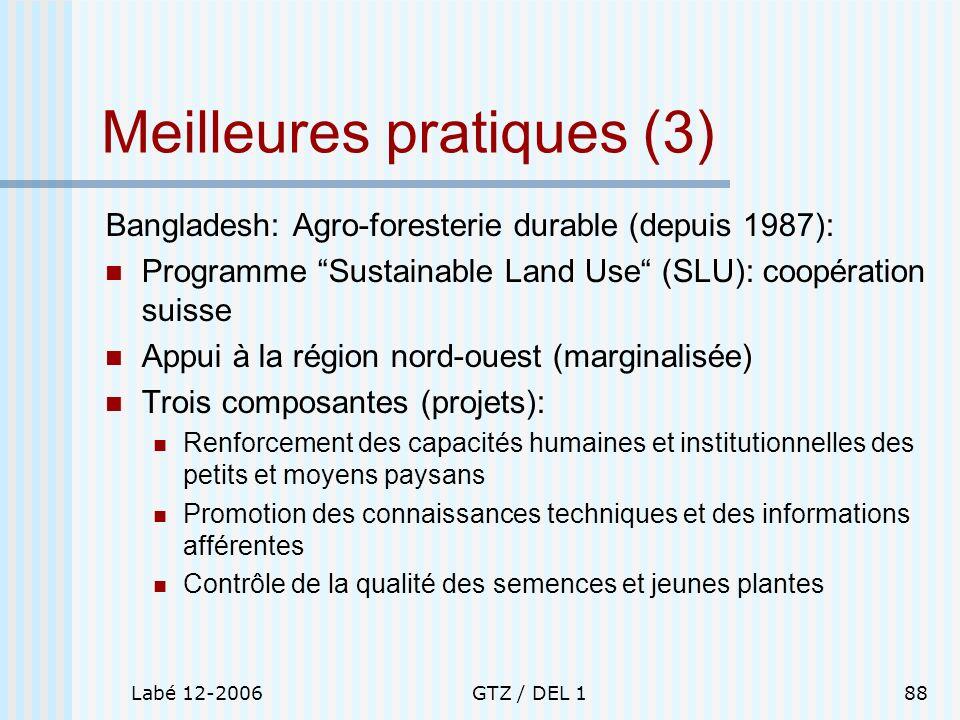 Labé 12-2006GTZ / DEL 188 Meilleures pratiques (3) Bangladesh: Agro-foresterie durable (depuis 1987): Programme Sustainable Land Use (SLU): coopératio