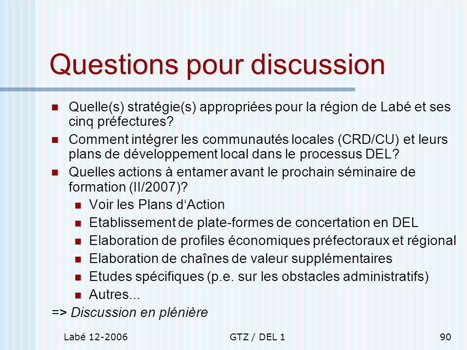 Labé 12-2006GTZ / DEL 190 Questions pour discussion Quelle(s) stratégie(s) appropriées pour la région de Labé et ses cinq préfectures? Comment intégre