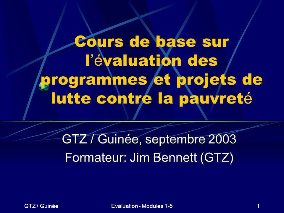 GTZ / GuinéeEvaluation - Modules 1-5122 La logique d intervention de l é valuation à mi-parcours Exercice brainstorming en plénière: Quel peut être lobjectif spécifique de lévaluation à mi-parcours de la SRP en Guinée?