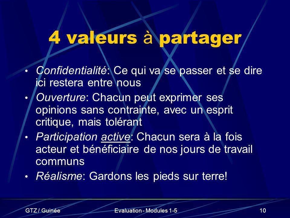 GTZ / GuinéeEvaluation - Modules 1-510 4 valeurs à partager Confidentialité: Ce qui va se passer et se dire ici restera entre nous Ouverture: Chacun p
