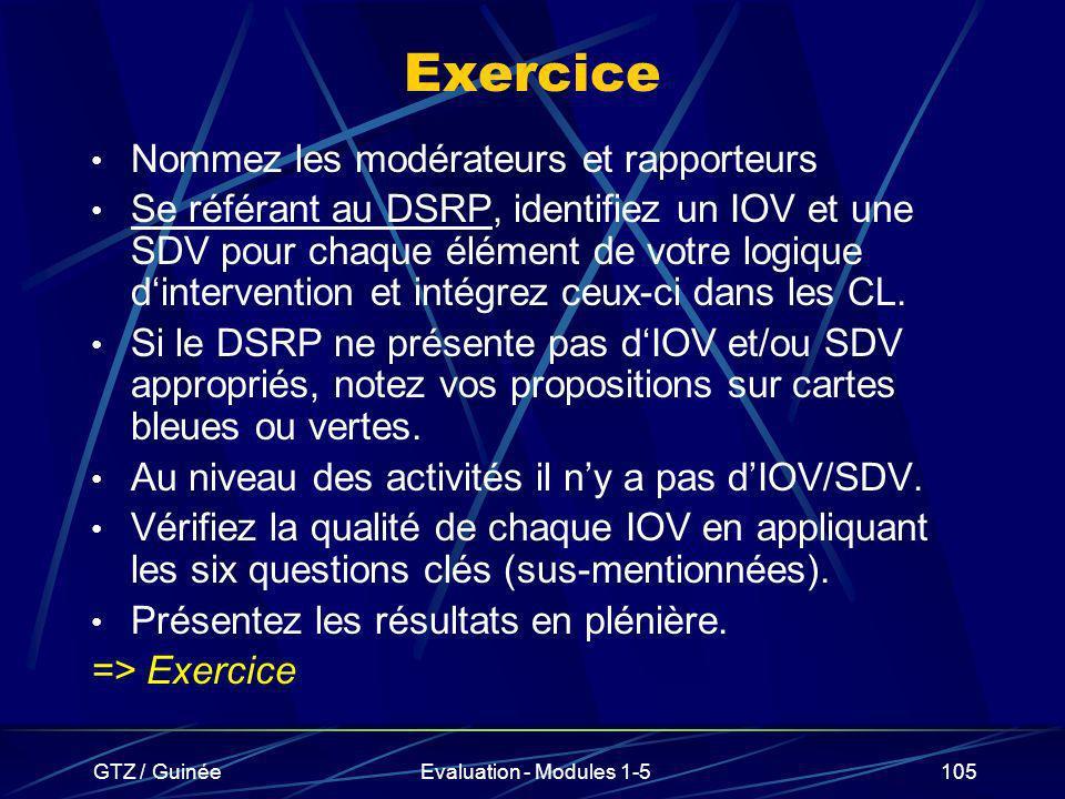 GTZ / GuinéeEvaluation - Modules 1-5105 Exercice Nommez les modérateurs et rapporteurs Se référant au DSRP, identifiez un IOV et une SDV pour chaque é