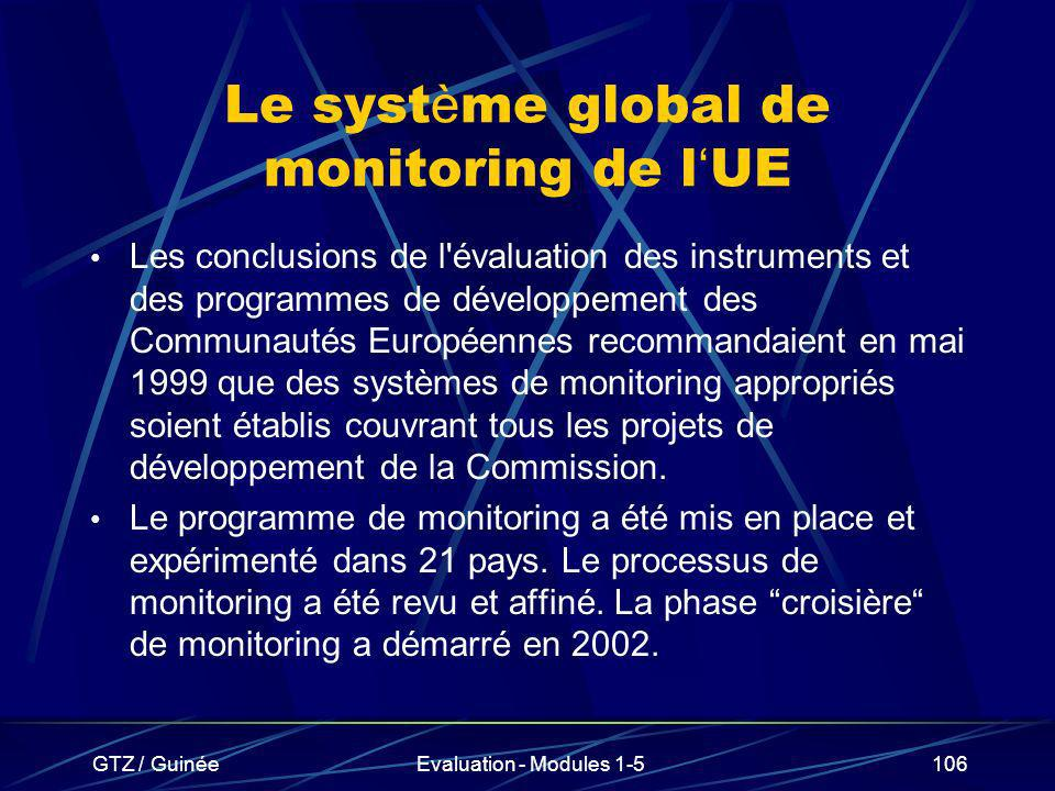 GTZ / GuinéeEvaluation - Modules 1-5106 Le syst è me global de monitoring de l UE Les conclusions de l'évaluation des instruments et des programmes de