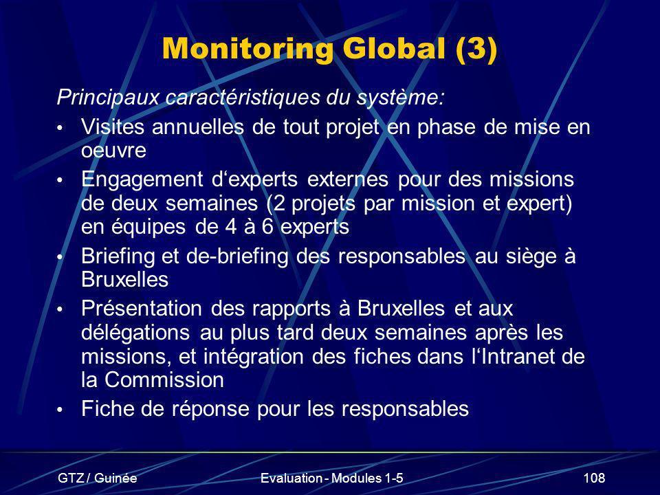 GTZ / GuinéeEvaluation - Modules 1-5108 Monitoring Global (3) Principaux caractéristiques du système: Visites annuelles de tout projet en phase de mis