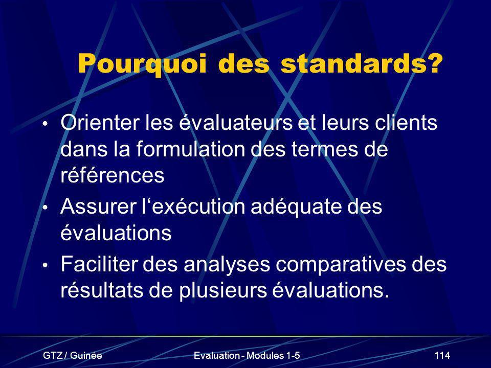 GTZ / GuinéeEvaluation - Modules 1-5114 Pourquoi des standards? Orienter les évaluateurs et leurs clients dans la formulation des termes de références