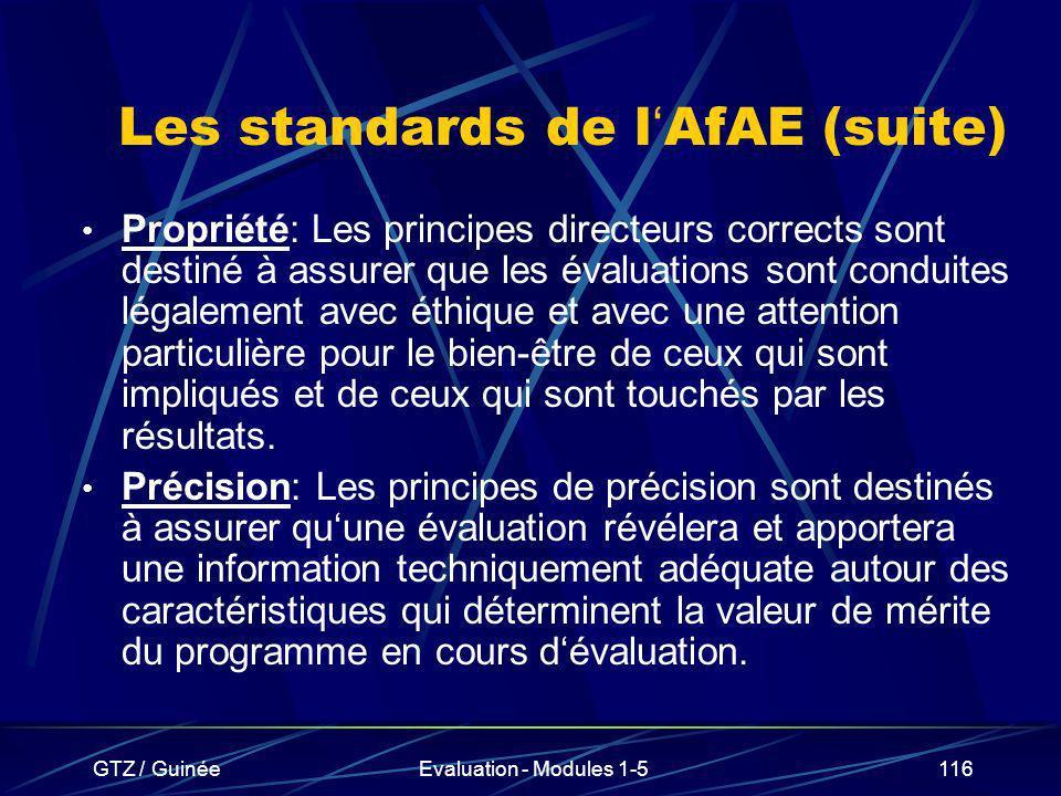 GTZ / GuinéeEvaluation - Modules 1-5116 Les standards de l AfAE (suite) Propriété: Les principes directeurs corrects sont destiné à assurer que les év