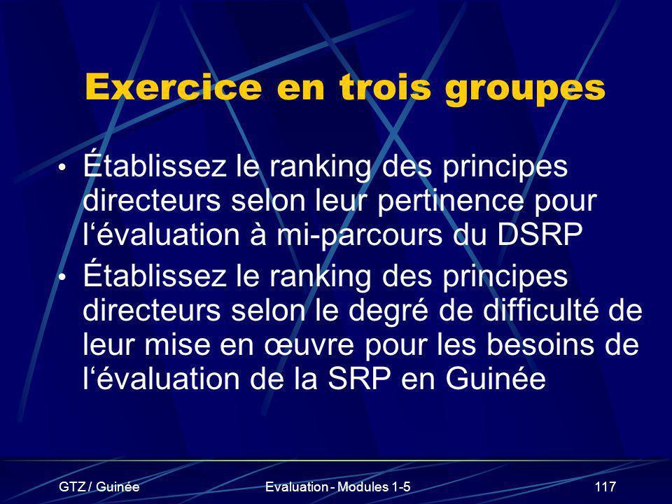 GTZ / GuinéeEvaluation - Modules 1-5117 Exercice en trois groupes Établissez le ranking des principes directeurs selon leur pertinence pour lévaluatio