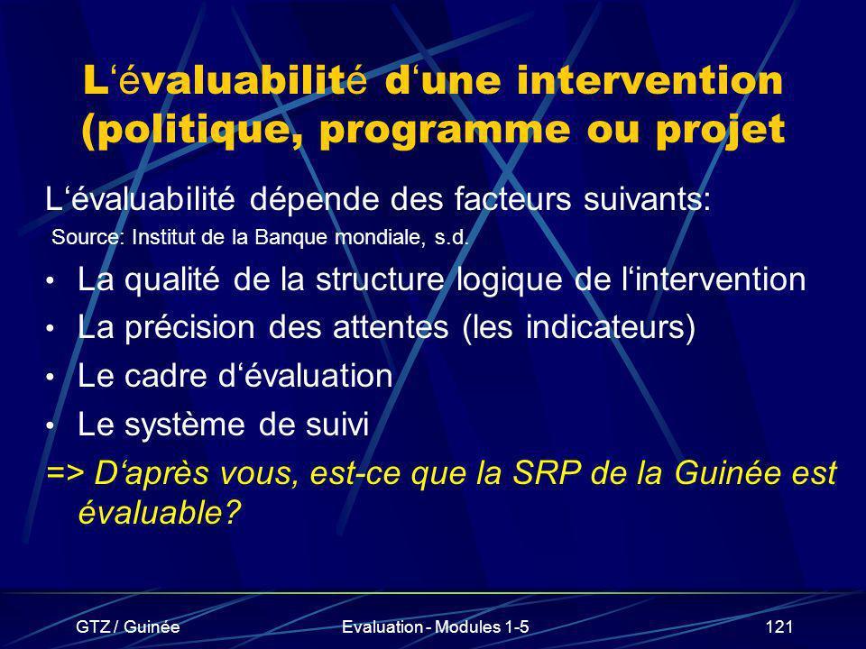 GTZ / GuinéeEvaluation - Modules 1-5121 L é valuabilit é d une intervention (politique, programme ou projet Lévaluabilité dépende des facteurs suivant