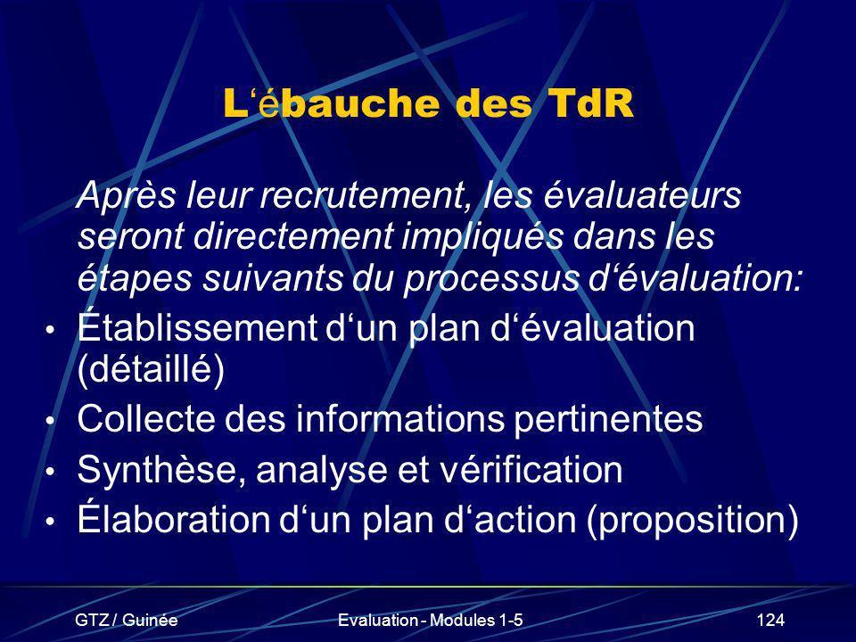GTZ / GuinéeEvaluation - Modules 1-5124 L é bauche des TdR Après leur recrutement, les évaluateurs seront directement impliqués dans les étapes suivan
