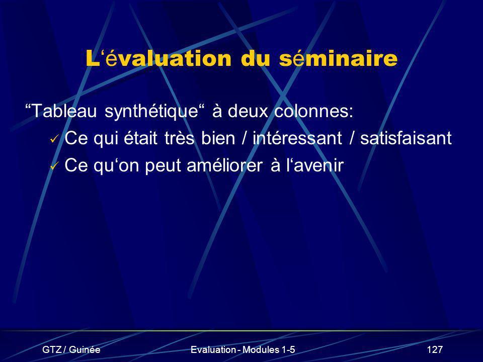 GTZ / GuinéeEvaluation - Modules 1-5127 L é valuation du s é minaire Tableau synthétique à deux colonnes: Ce qui était très bien / intéressant / satis