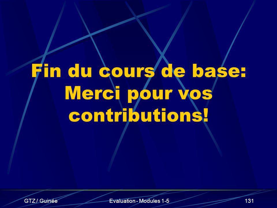 GTZ / GuinéeEvaluation - Modules 1-5131 Fin du cours de base: Merci pour vos contributions!
