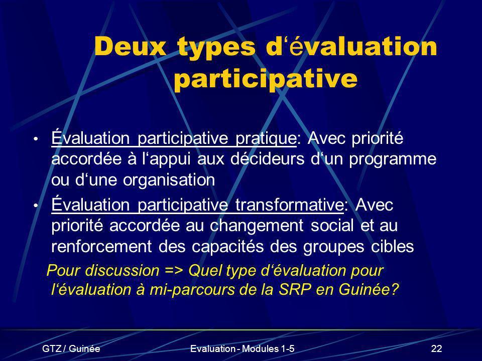 GTZ / GuinéeEvaluation - Modules 1-522 Deux types d é valuation participative Évaluation participative pratique: Avec priorité accordée à lappui aux d