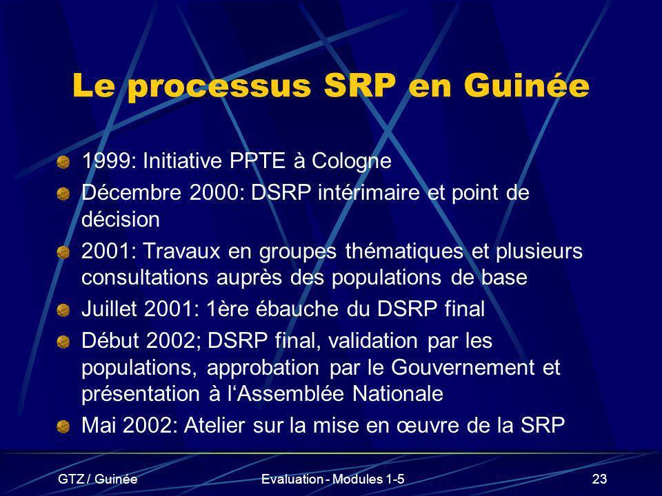 GTZ / GuinéeEvaluation - Modules 1-523 Le processus SRP en Guinée 1999: Initiative PPTE à Cologne Décembre 2000: DSRP intérimaire et point de décision