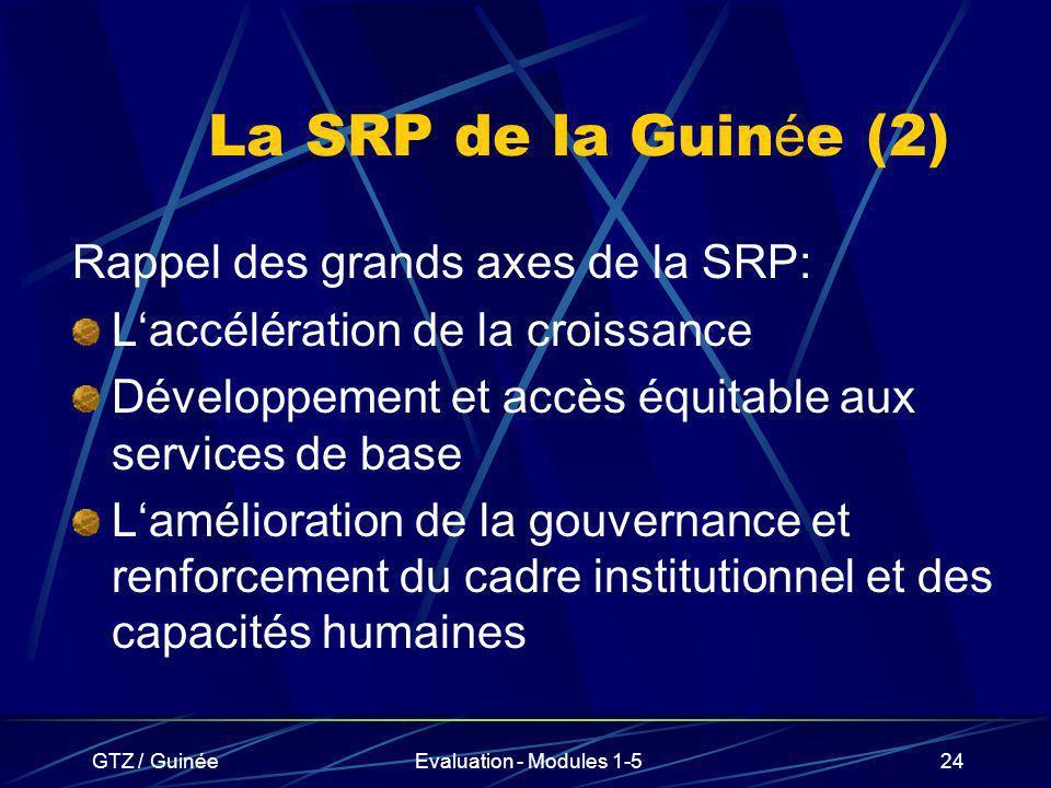 GTZ / GuinéeEvaluation - Modules 1-524 La SRP de la Guin é e (2) Rappel des grands axes de la SRP: Laccélération de la croissance Développement et acc