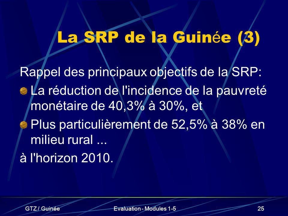 GTZ / GuinéeEvaluation - Modules 1-525 La SRP de la Guin é e (3) Rappel des principaux objectifs de la SRP: La réduction de l'incidence de la pauvreté