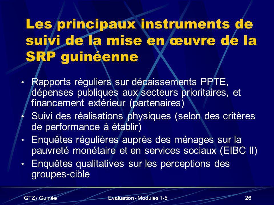 GTZ / GuinéeEvaluation - Modules 1-526 Les principaux instruments de suivi de la mise en œuvre de la SRP guinéenne Rapports réguliers sur décaissement