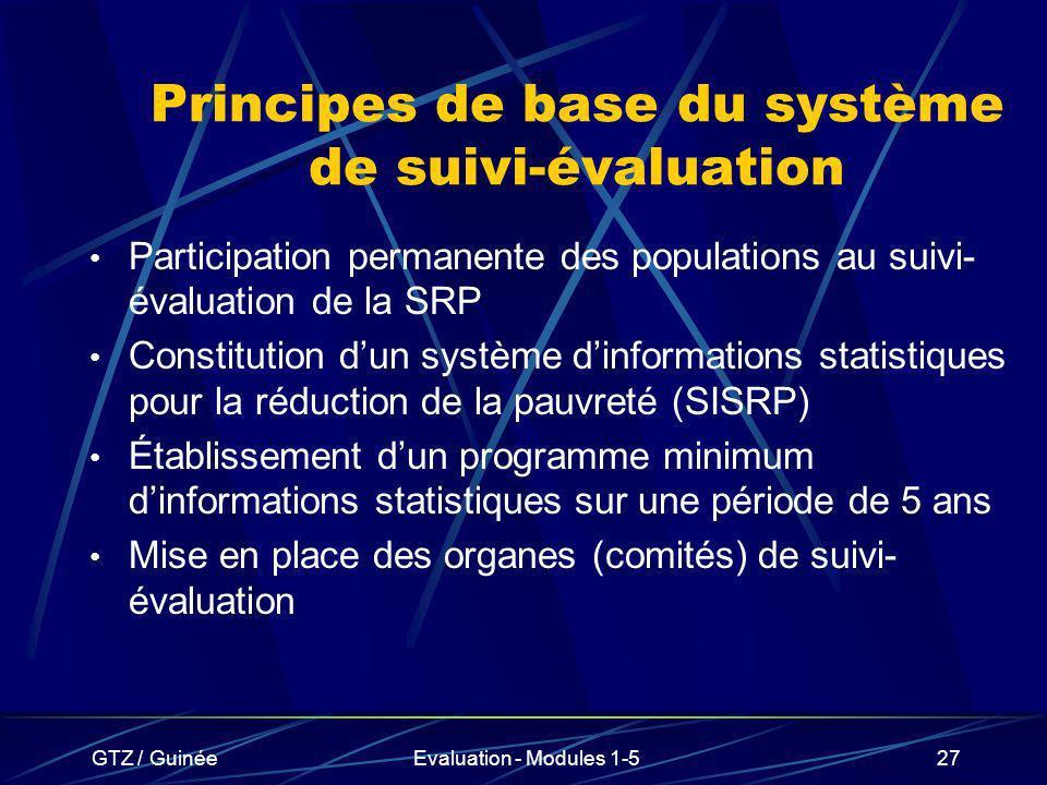 GTZ / GuinéeEvaluation - Modules 1-527 Principes de base du système de suivi-évaluation Participation permanente des populations au suivi- évaluation