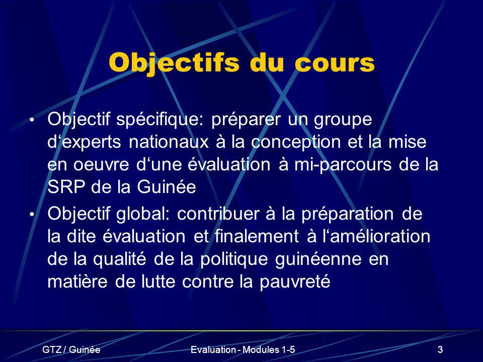 GTZ / GuinéeEvaluation - Modules 1-54 Contenu du cours (1) Le DSRP de la Guinée Les DSRP dautres pays africains Les instruments (cadre logique etc.) Standards dévaluation internationaux Lévaluation participative