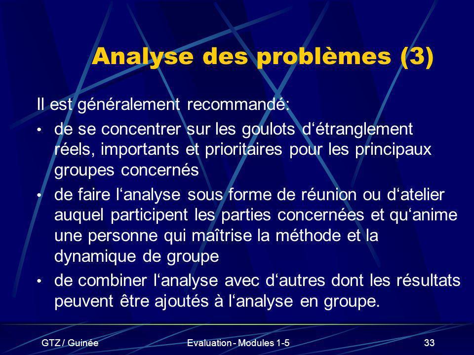GTZ / GuinéeEvaluation - Modules 1-533 Analyse des problèmes (3) Il est généralement recommandé: de se concentrer sur les goulots détranglement réels,