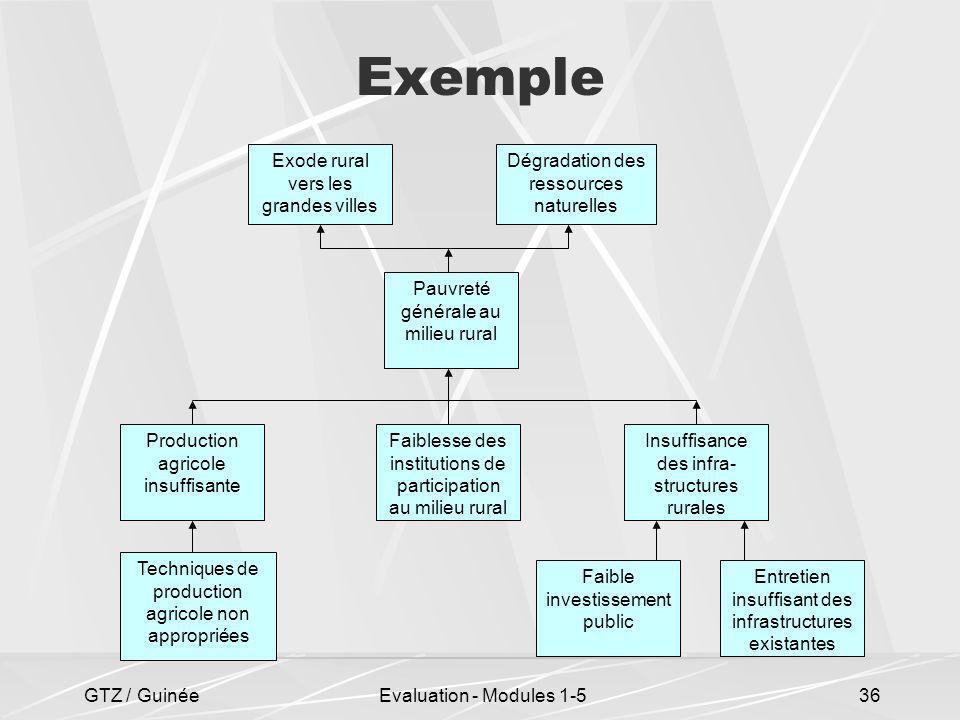 GTZ / GuinéeEvaluation - Modules 1-536 Exemple Faible investissement public Entretien insuffisant des infrastructures existantes Pauvreté générale au