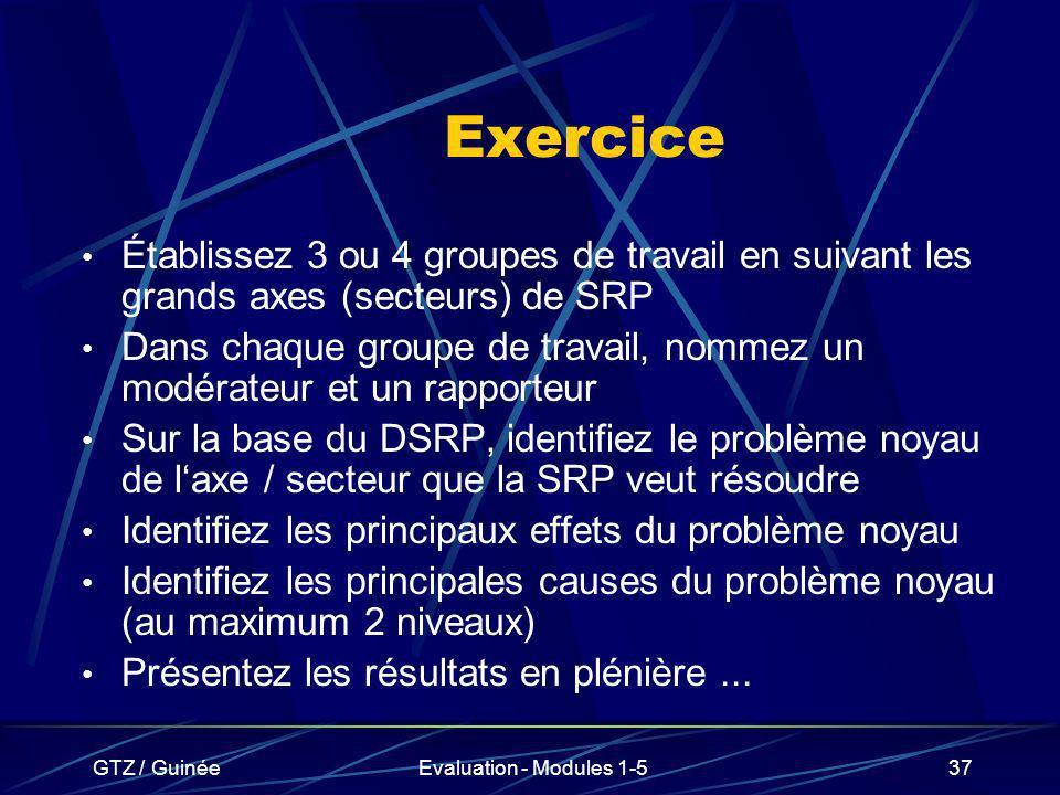 GTZ / GuinéeEvaluation - Modules 1-537 Exercice Établissez 3 ou 4 groupes de travail en suivant les grands axes (secteurs) de SRP Dans chaque groupe d