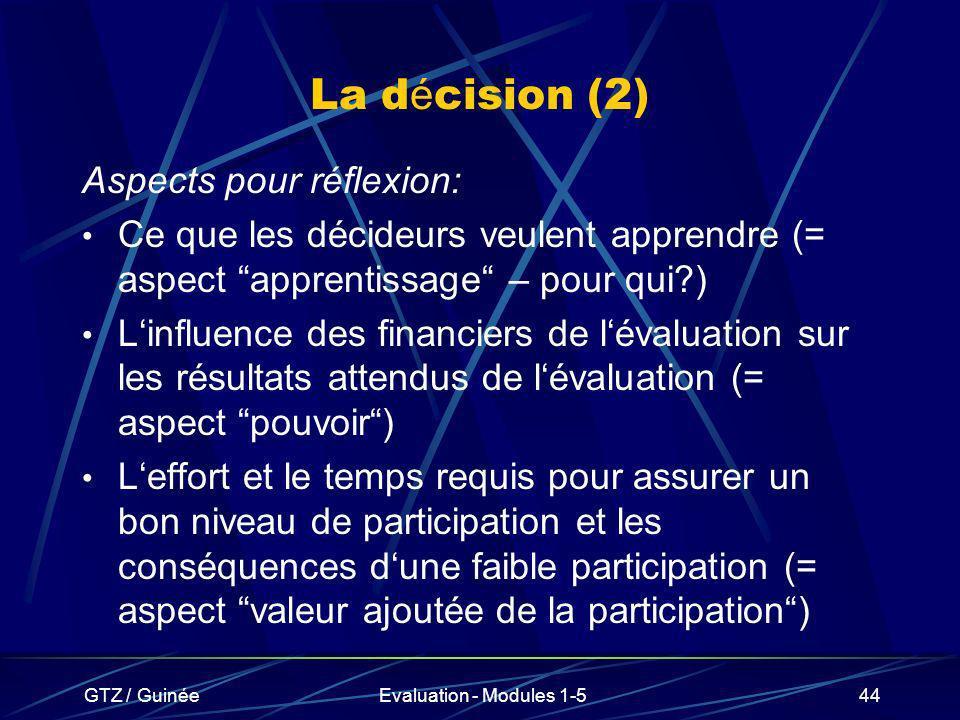 GTZ / GuinéeEvaluation - Modules 1-544 La d é cision (2) Aspects pour réflexion: Ce que les décideurs veulent apprendre (= aspect apprentissage – pour