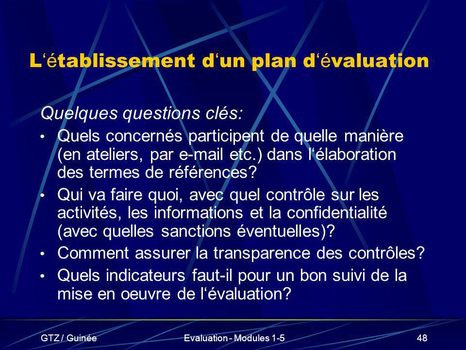 GTZ / GuinéeEvaluation - Modules 1-548 L é tablissement d un plan d é valuation Quelques questions clés: Quels concernés participent de quelle manière