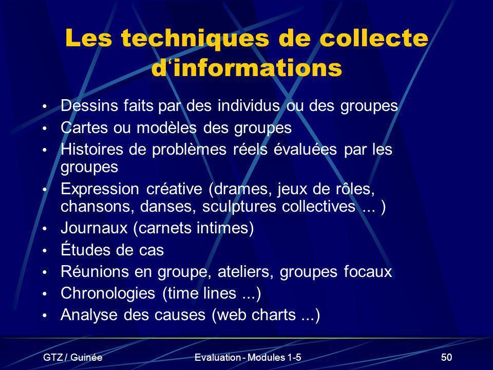 GTZ / GuinéeEvaluation - Modules 1-550 Les techniques de collecte d informations Dessins faits par des individus ou des groupes Cartes ou modèles des